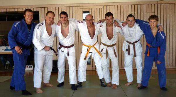 Von links nach rechts: Matthias Rippa (-81 kg), Andreas Roth (+90 kg), Peter Dobler (-90 kg), Jürgen Kestenus (-81 kg), Nicolai Kraus (-73 kg), Matthias Kerler (-73 kg), Thomas Reichmann (-66 kg)